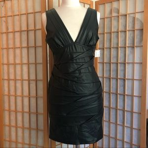 Faux Leather Bodycon Cocktail Dress